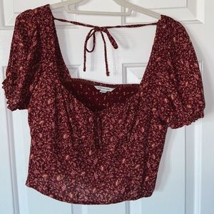 cropped floral present top